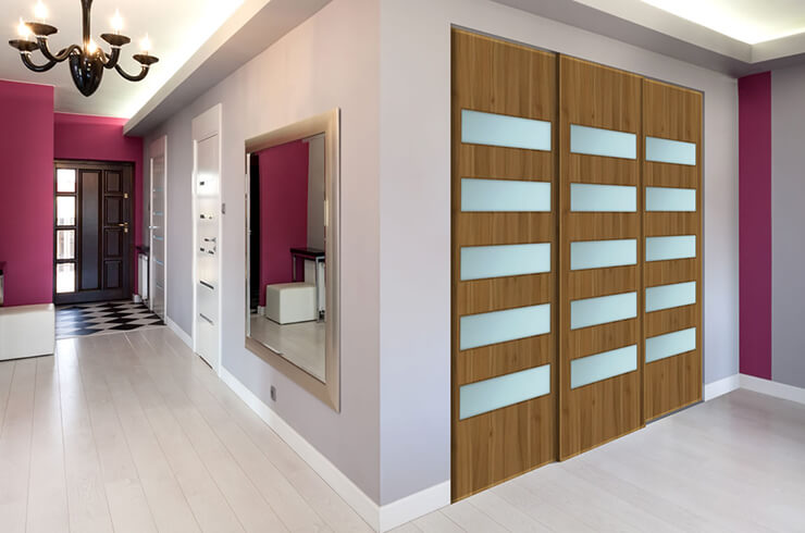 Lyon Walnut Wood and Frosted Glass Pressed