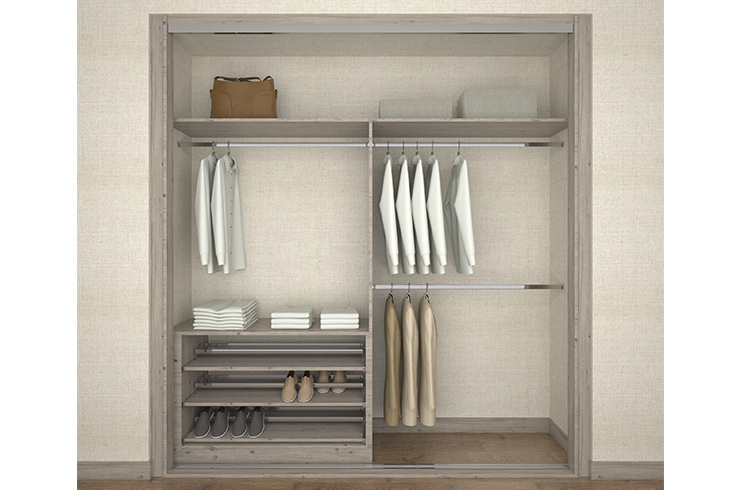 Interior design in satin coastland with pull out shoe rack
