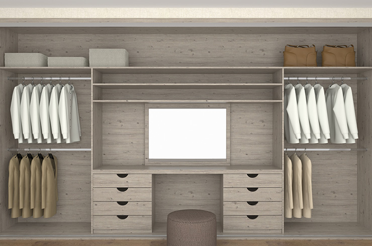 Interior Design in Satin Coastland with Central Dressing Table