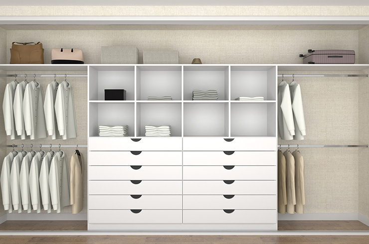 Interior Design in White Finish with Double Draw Units