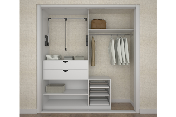 Interior design in white with pull down hanging rail