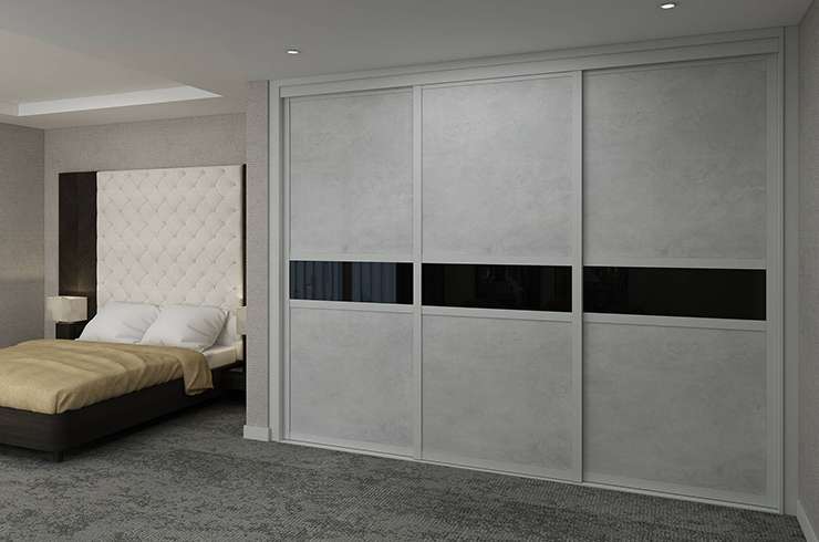 Shaker Light Grey Frame with Light Concrete Panels and Black Glass