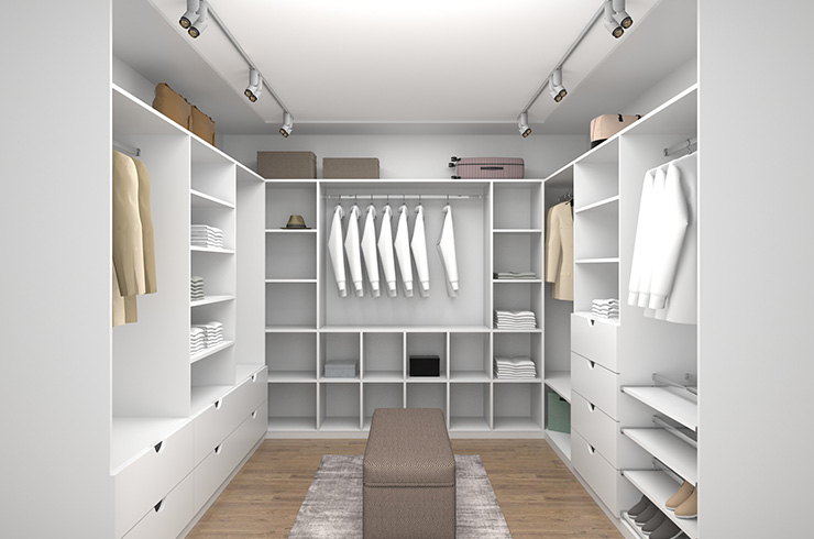 Walk-in interior design in white